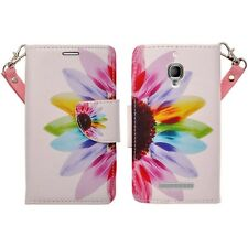 Hybrid Leather Wallet Pouch Case Flip Cover For Alcatel One Touch Fierce 7024W