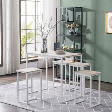 5 Piece Metal Dining Table Set W/ 4 Chairs Wood Dining Room Furniture Oak White