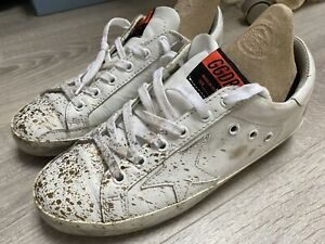 Golden Goose White Superstar Distressed Trainers 38 Size 5