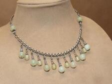 & Rhinestone Bib Necklace 16 inches Vintage Dangling Green Jade Ball Bead