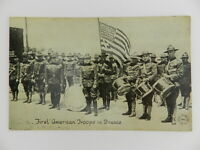 Vintage Postcard First American Troops in France WWI Real Photo Postcard RPPC