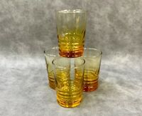 Set Of 4 Libbey Amber Yellow Juice Glasses Ringed Bottom 5 Oz Glass VTG Optic