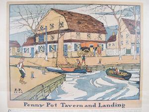 Antique 1909 Robert Smith Ale Ad Penny Pot Tavern&Landing Lithograph Print#4 yqz