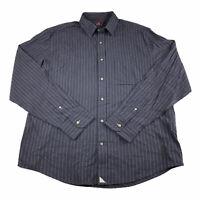 UNTUCKit Mens Long Sleeve Button Up Shirt Blue Pin Stripes Plaid Slim Fit Sz XL