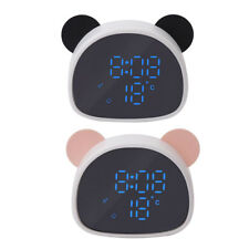 Cartoon Snooze Alarm Clock Digital Desk Voice Control Mirror Clock-White