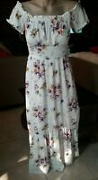 ATMOS & HERE PRETTY WHITE FLORAL OFF SHOULDER MAXI DRESS RUFFLED HEMLINE SIZE 8.