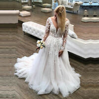 Princess Long Sleeves Wedding Dresses Appliques Lace Backless Bridal Gown V-neck