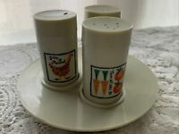 Vintage Loma Ind. Country Chicken Veggie Plastic Three Spice Shakers w/Tray