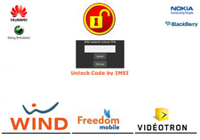 FREEDOM MOBILE WIND FOR HUAWEI, SONY, BLACKBERRY, NOKIA PHONES UNLOCK CODE