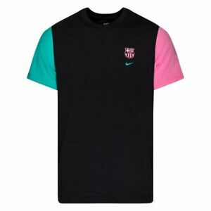 2020/21 Nike FC Barcelona T-Shirt Travel Black/New Green/Lotus Pink Sz Large