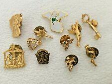 Lot of  Vintage Brooches Pins Enamel GUARDIAN ANGEL NATIVITY KEY FOOTSTEPS STAR