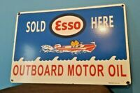 VINTAGE ESSO GASOLINE PORCELAIN OUTBOARD GAS MOTOR OIL SERVICE STATION PUMP SIGN