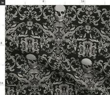 Vintage Damask Skulls Halloween Skull Bones Fabric Printed by Spoonflower BTY
