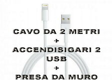 Kit Carica Batteria Auto 2 Usb Per iPhone 6S 6 5S Plus iPod iPad Cavo 2M Light