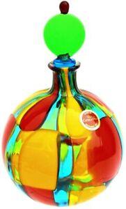 Murano Glass Authentic Handblown Perfume Bottle, Pazzia Large Round