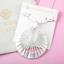 NEW Kendra Scott Deanne Long Pendant Necklace In Bright Silver