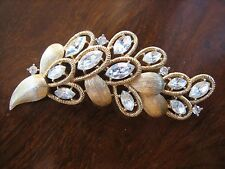 Trifari crown spilla dorata con strass anni '60