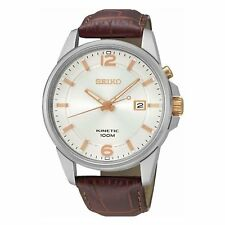 Seiko Men's SKA669 'Kinetic' Brown Leather Watch