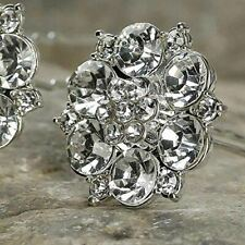 Elegant Silver and Rhinestone Dahlia Flower Hair Pins