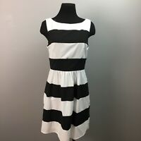 B DARLIN Fit and Flare  Dress size 11 juniors black white striped