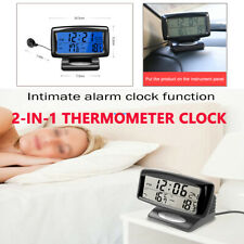 2in1 Digital Display Car Thermometer Electronic  Alarm Clock 85*24mm In/Out Door