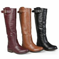 Journee Collection Womens Wide Calf Buckle Knee High Riding Boots New