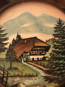 Vintage Schwarzwalder Wooden Plate Country House Hand Painted Carved  8""
