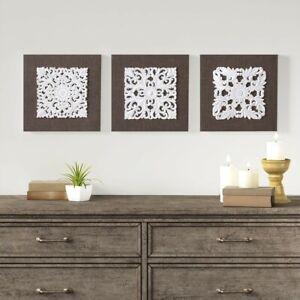 "Luxury 3pc Brown & White Mandala 3D Linen Canvas Wall Art - 12x12"" Each"