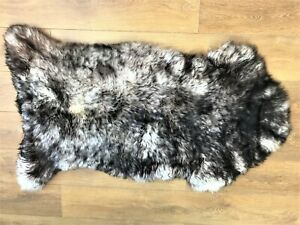 Spiced Black Real Sheepskin Rug Extra Soft Thick Genuine Natural Huge 130-140cm
