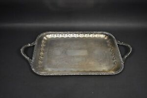 VINTAGE Hartford Sterling Silver Plate on Copper 12x17 Inch Serving Platter Tray