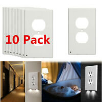 10 Pack Night Angel Duplex Plug Cover Sensor Light  LED Wall Outlet Coverplate
