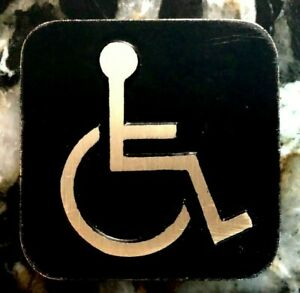Handicap Antiqued Brass Bathroom Sign