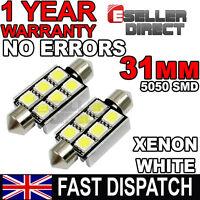 2 x WHITE LED 31mm 6xSMD Interior Light Bulbs For Mitsubishi L200