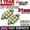 2 x 6 SMD LED 269 30mm 31mm WHITE NUMBER PLATE INTERIOR DOME LIGHT FESTOON BULB