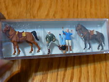 Preiser Ho #10503 At The Riding School #2 (Hand Painted) 2 Horses