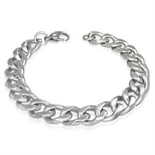 GIFT 4 MEN 10mm Stainless Steel Silver Tone Curb Cuban Link Bracelet Claw Clasp
