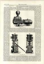 1891 Horizontal And Vertical Duplex Pumps Mumford Anthony Improved Linotype