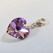 Sterling Silver Clip-On Bracelet Charm Swarovski Element Crystal Heart VL Purple