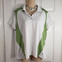 IZOD Size XL Womens White & Green Polo golf X-tra Dry Short Sleeve Shirt Top