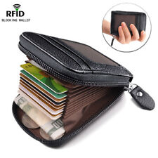 Mens RFID NFC BLOCKING Real Leather Wallet Zip Coin Pocket Purse ID Window Black