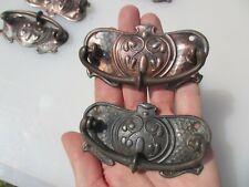 Victorian Iron Drawer Handles Pulls Chest Antique Hardware Nouveau Vintage x8