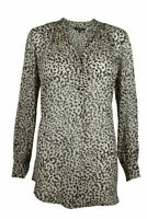 Leopard Animal Print Sheer Chiffon Black Beige Long Sleeve Tunic Blouse Top