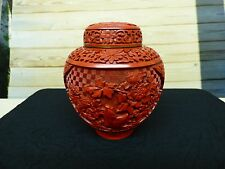 Antique Chinese Red Cinnabar Urn Ginger Jar Brilliant Intricate Hand Carved Vase