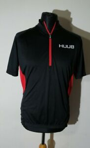 Hubb short Sleeve Cycling Jersey Top Size L Large Black red