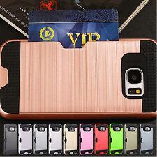 Slim Card Pocket Shock Proof Hybrid Wallet Case Cover For Samsung Galaxy Phones