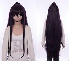 W-554 Date A Live Tohka Yatogami negro lila Purple 120cm cosplay peluca wig
