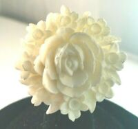 VINTAGE CARVED CELLULOID PLASTIC WHITE FLOWER PIN BROOCH