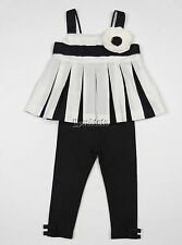 Janie and Jack French Voyage 2pc Outfit Set Black White Flower 12 18 Mo EEUC+