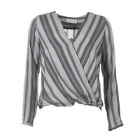 ROSEMUNDE Blouse Grey Multi Stripe Print Crossover RRP £85 BG