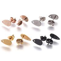 10 Drop 304 Stainless Steel Earring Posts Textured Inner Loop Studs w/ Back 10mm